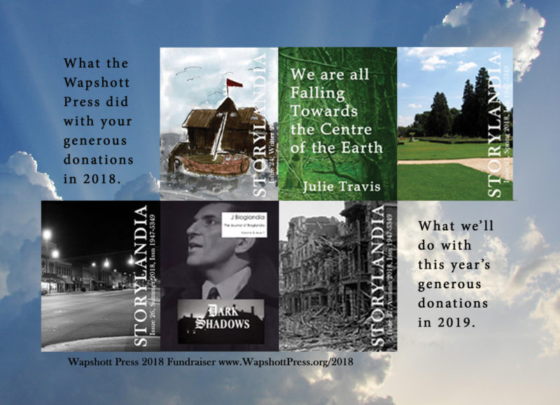 Wapshott Press 2018 Fundraiser for Storylandia and Poetrylandia fiction and poetry collections. Please be generous; we need you. Thank you.
